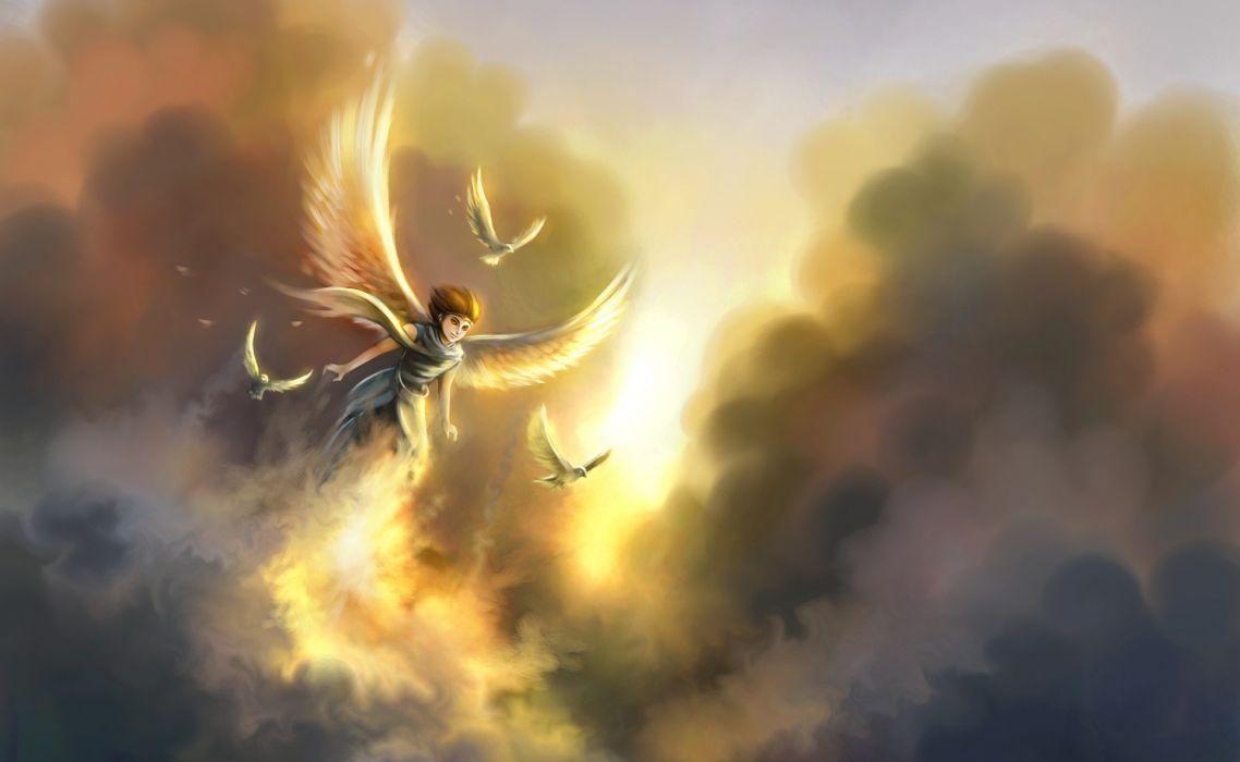 angel fantasy birds flight sunset sunrise sky clouds wings wallpaper