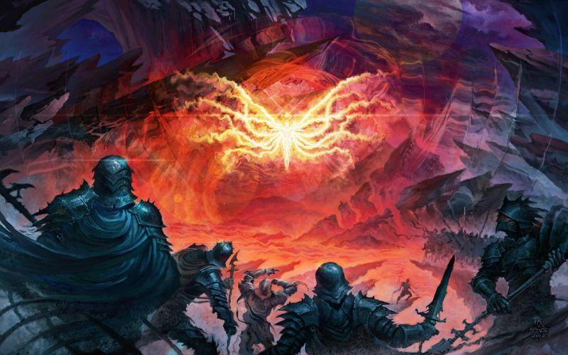 fantasy warriors weapons fire flames magic armor wallpaper