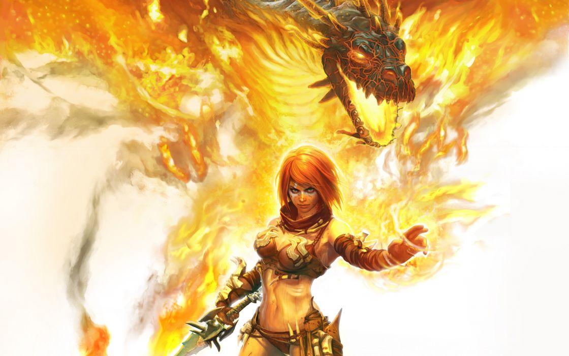 Golden Axe  Beast Rider  girl  fire  dragon  head  magic  sword fantasy wallpaper