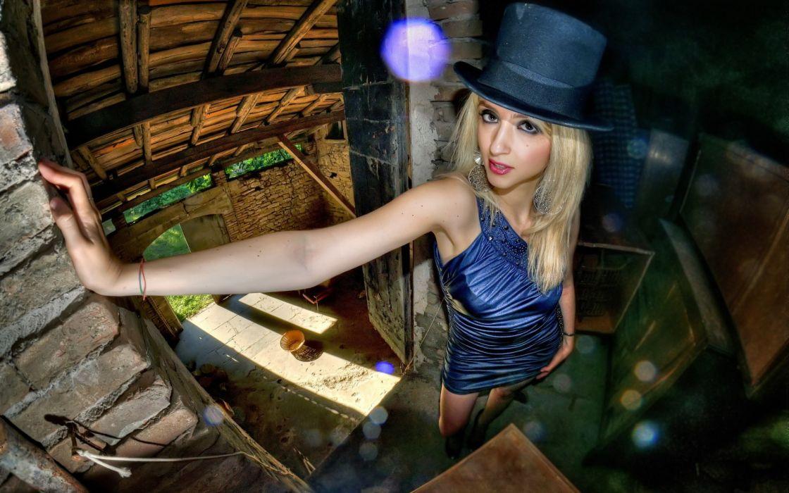 hat face eyes blondes models women females girls sexy babes wallpaper