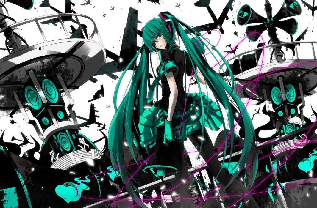 hatsune miku  WA Koi sensou  vocaloid  miruto netsuki  art  girl  airplanes  megaphone  wires wallpaper