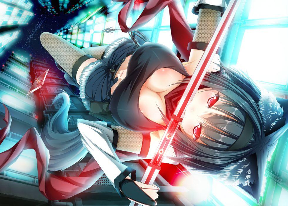 animal ears black hair cleavage foxgirl navel original re-n ne red eyes short hair sword thighhighs weapon wallpaper