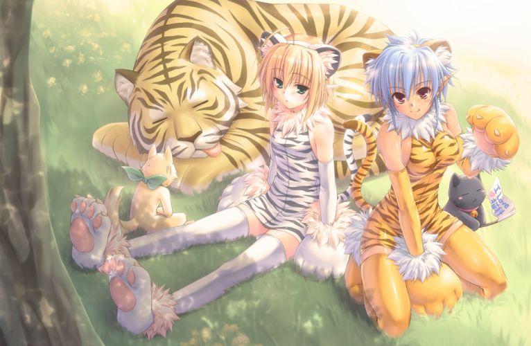 animal ears cat fang kuroneko sakon original tail thighhighs tiger wallpaper