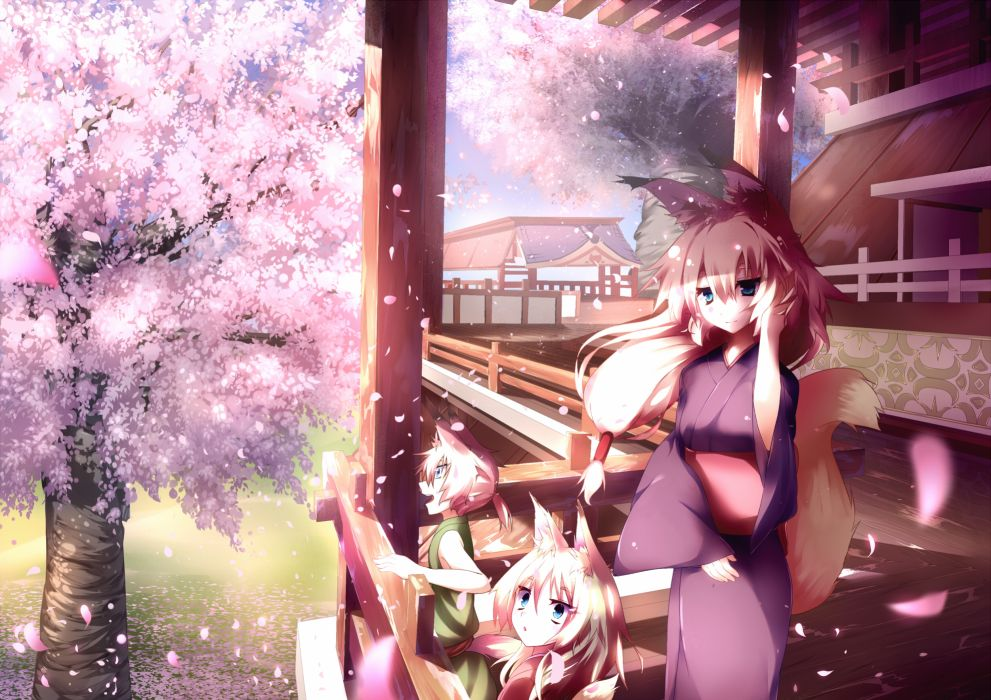 animal ears cherry blossoms foxgirl japanese clothes jebura kimono original petals scenic spring tail tree wallpaper