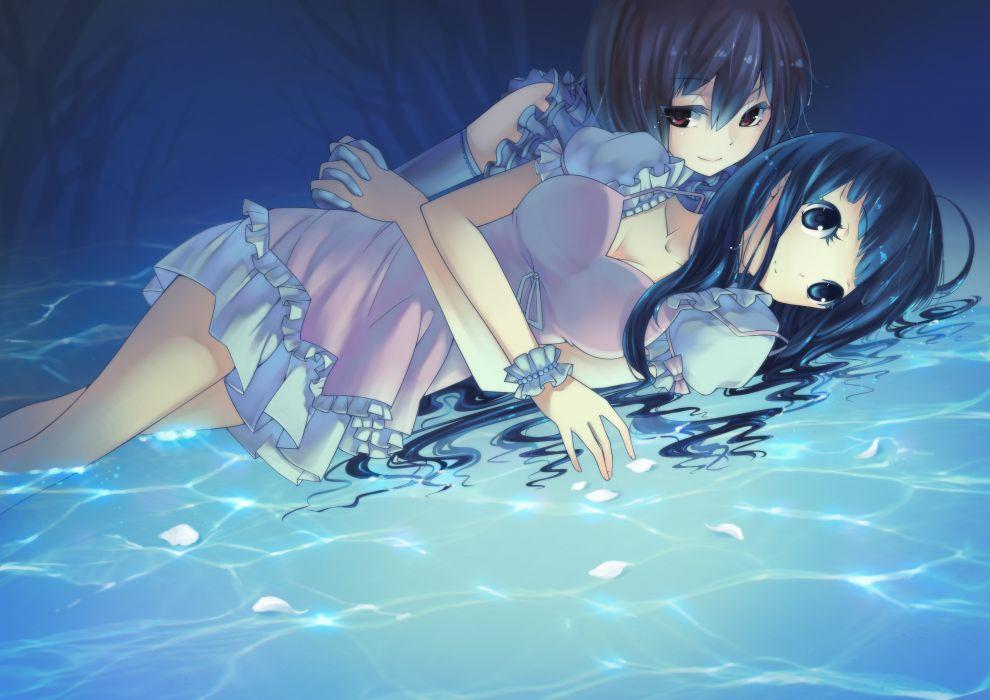 girls blue cleavage dress original petals water wallpaper