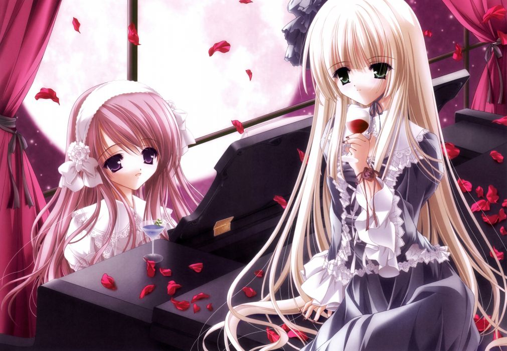 girls dress goth-loli lolita fashion long hair original petals piano scan tinkerbell tinkle wallpaper