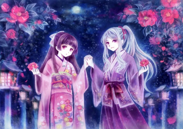 girls flowers gray hair japanese clothes kimono original ponytail purple eyes purple hair red eyes scarlet tea child wallpaper