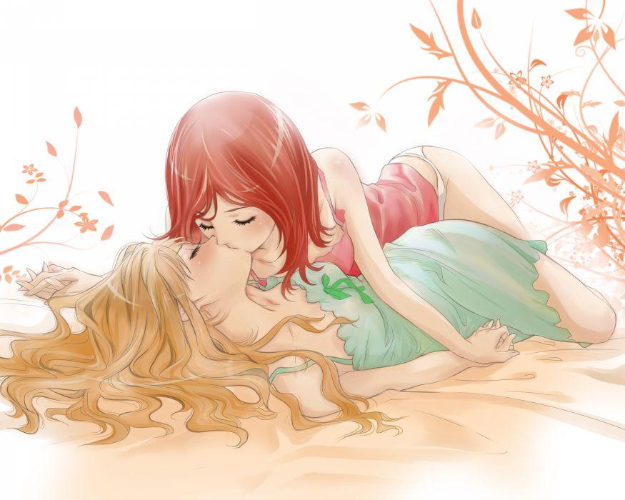 blonde hair kiss original panties ratana satis red hair underwear yuri wallpaper