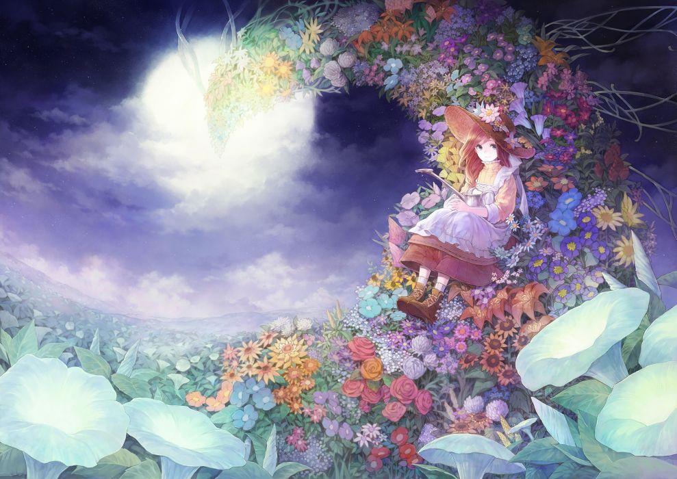 blue eyes brown hair clouds flowers hat long hair original russel (yumeriku) stars wallpaper