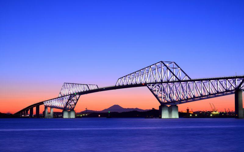 bay evening orange sunset blue sky architecture roads bridges japan sky wallpaper