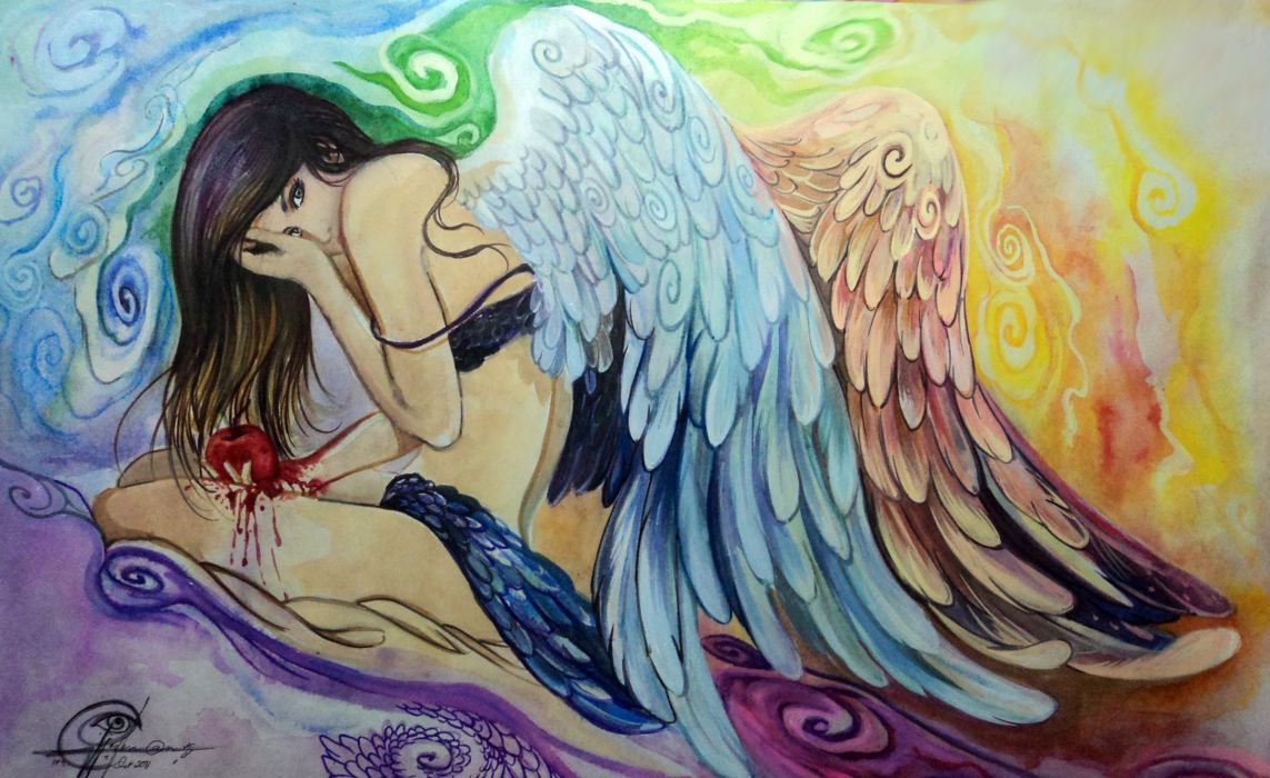 Angels Painting Art Pictorial art Wings Fantasy Girls gothic apple blood wings women females babes psychedelic wallpaper