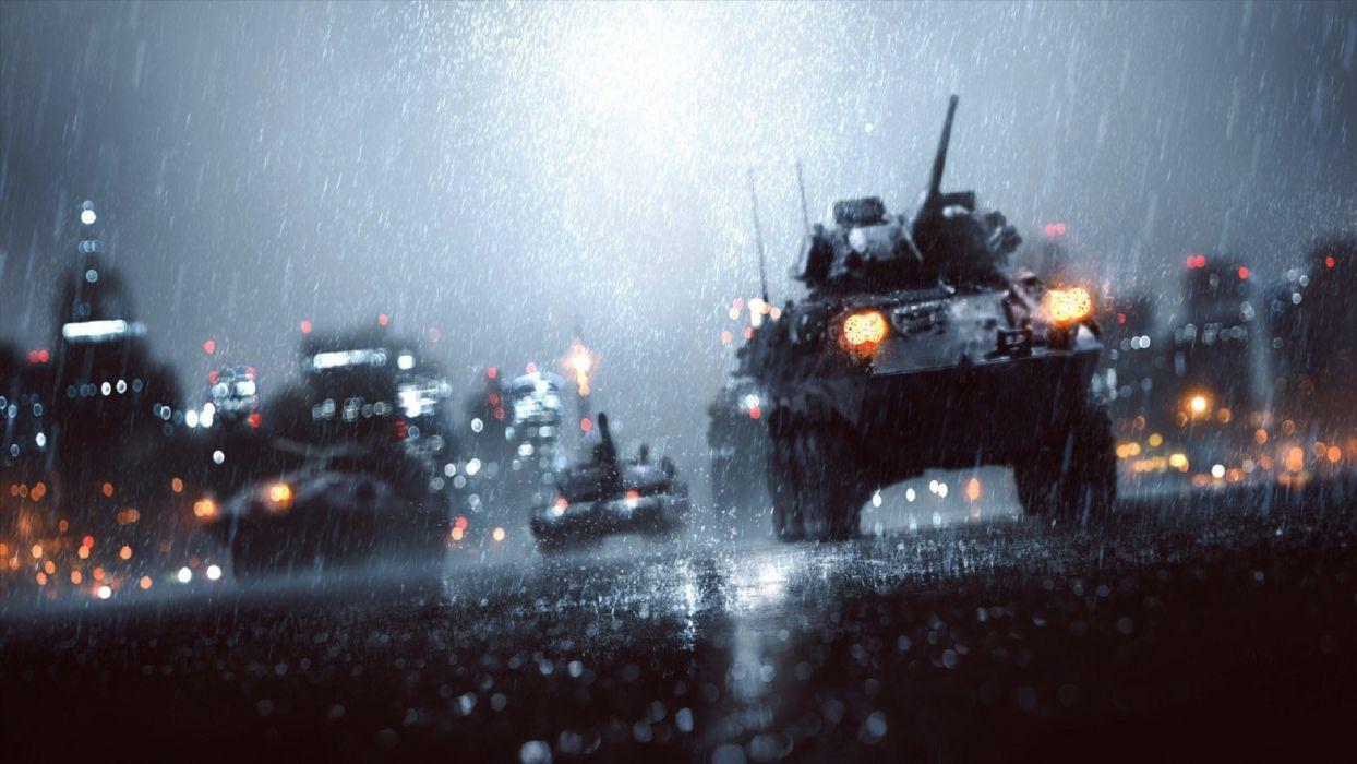 Battlefield Rain military storm drops wet reflection weapons night lights roads guns cannon wallpaper