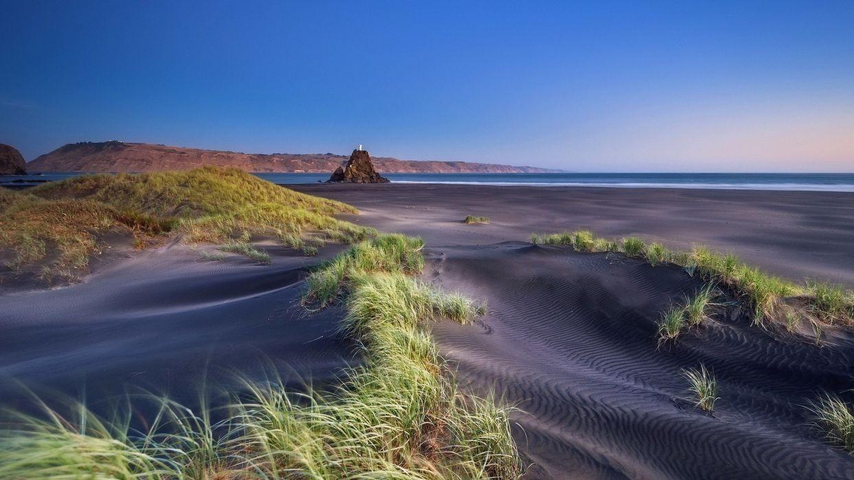 beaches grass sand ocean sea landscapes coast shore sky wallpaper