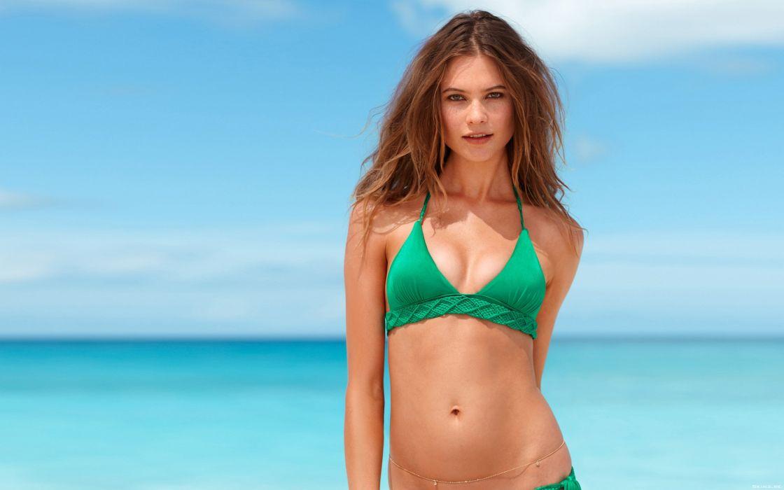 Behati Prinsloo fashion model brunettes women females girls sexy babes swimwear bikini ocean sea beaches      r wallpaper