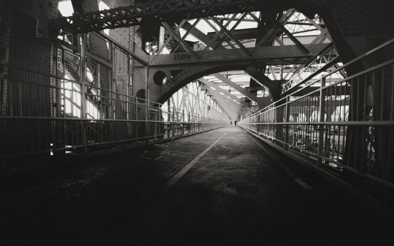 Bridge BW Beams Metal Path Trail black white sidewalk architecture wallpaper