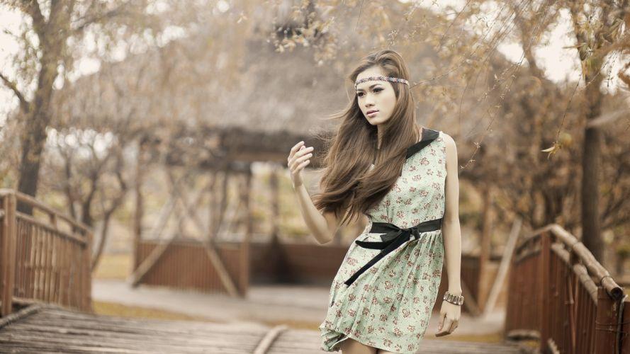 Brunette Dress Asian oriental face model brunettes women females girls babes mood wallpaper