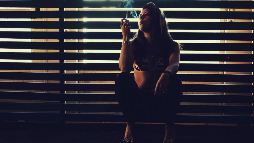 Brunette Smoking Cigarette mood window women females girls babes sexy blondes wallpaper