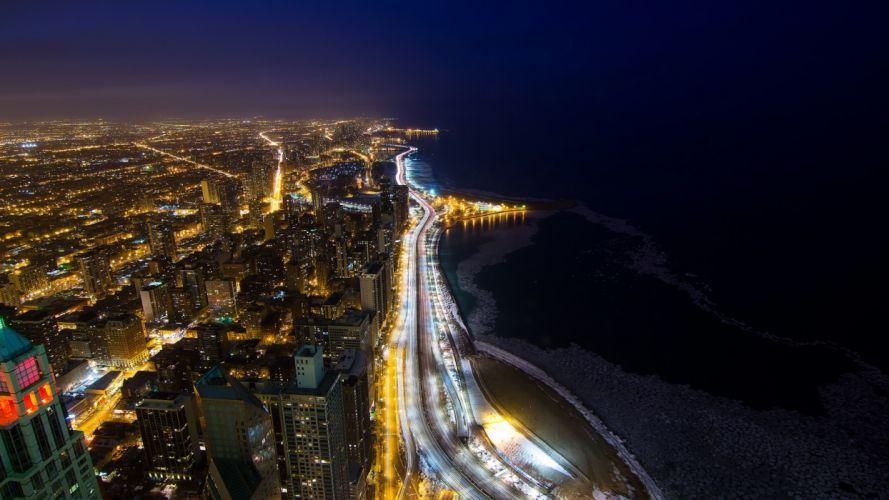 Buildings Skyscrapers Coast Night Ocean Lights Timelapse cities sea beaches roads wallpaper