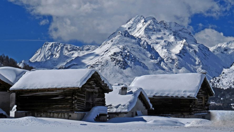 Cabin Mountain Snow Winter buildings houses landscapes sky clouds wallpaper