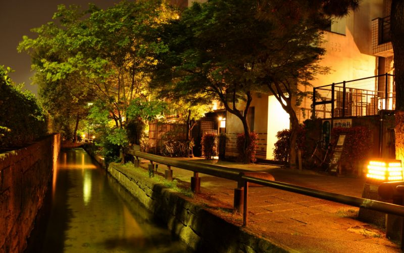Canal Night Asian Building Lights Trees reflection oriental houses wallpaper