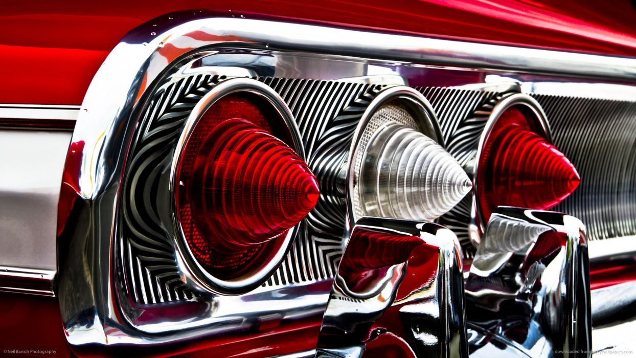 Classic Car Classic Hot Rod Tail Light Red chevrolet chevy impala reflection chrome wallpaper