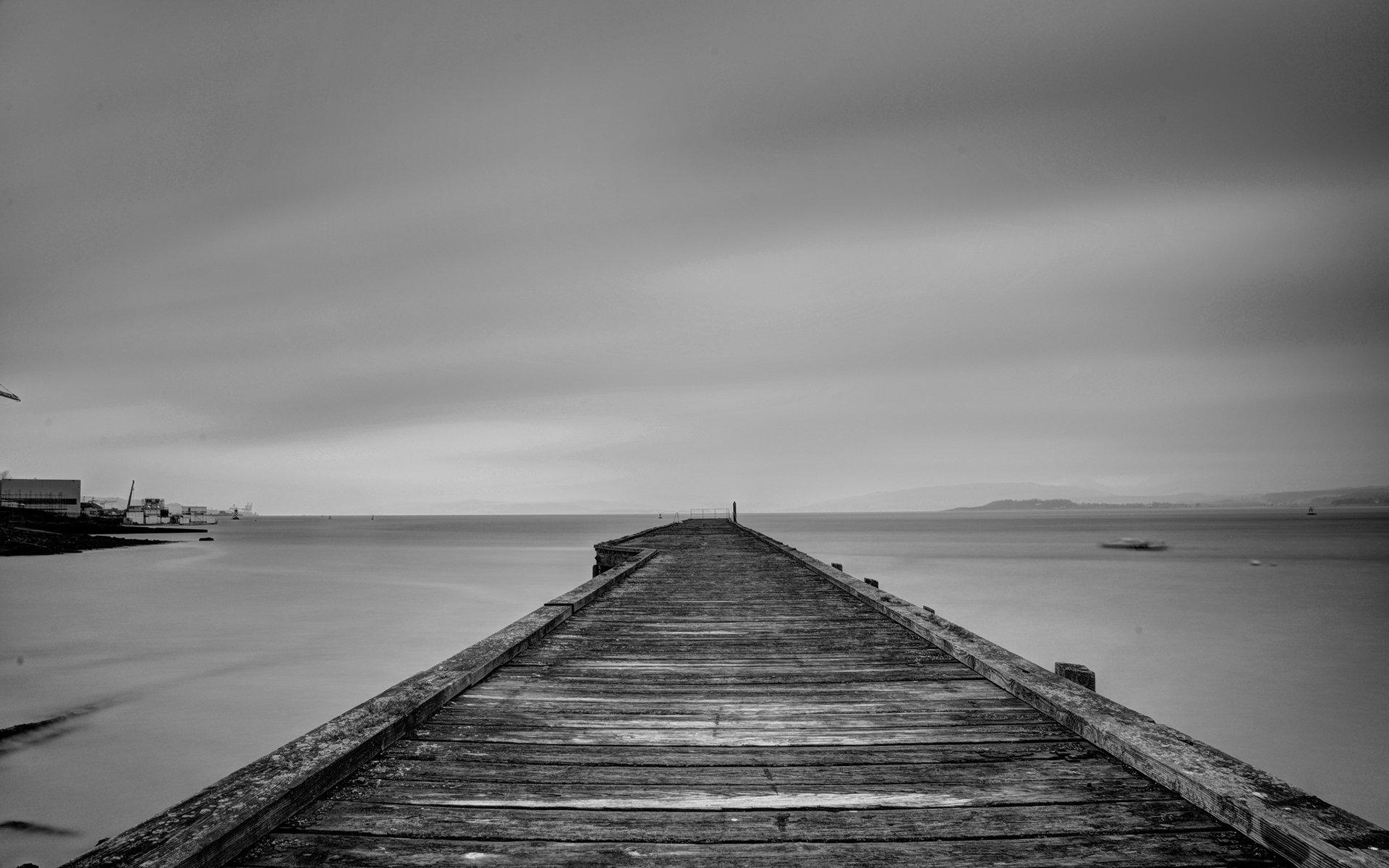 Dock Lake black white architecture buildings sky clouds ...