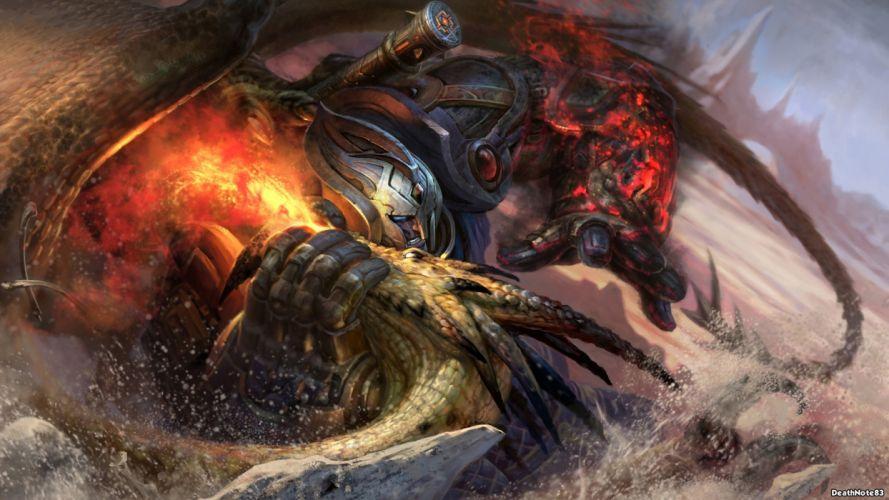 Dragon Warrior Fight battle fire wallpaper