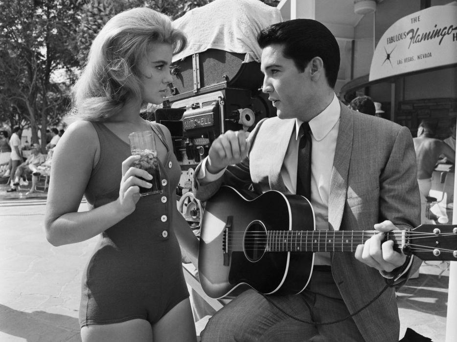 Elvis Presley Ann-Margret BW Guitar tetro music guitar actress black white swimwear women females girls sexy babes blondes singer musician men males actor wallpaper