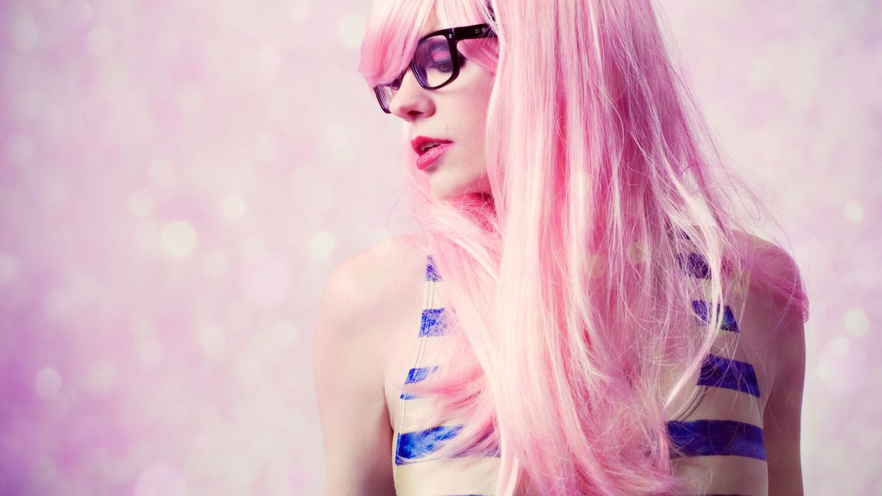 glam pink hair glasses models women females girls sexy babes face eyes make-up lips wallpaper