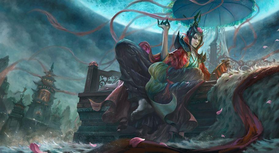 Gothic Fantastic world Fantasy Girls asian oriental women females wallpaper