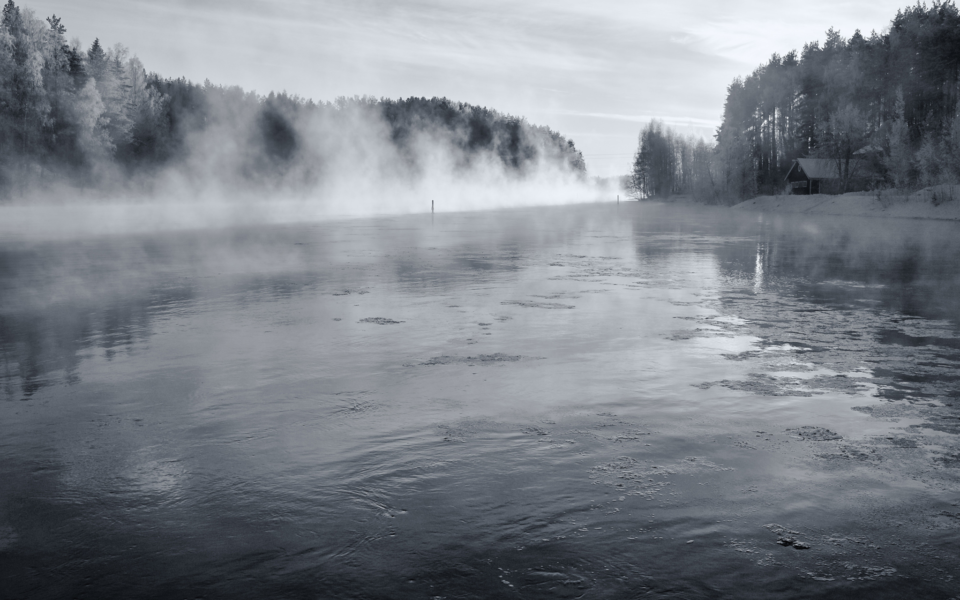 Lake Steam BW Trees Winter Snow fog ice sky buildings cabin houses