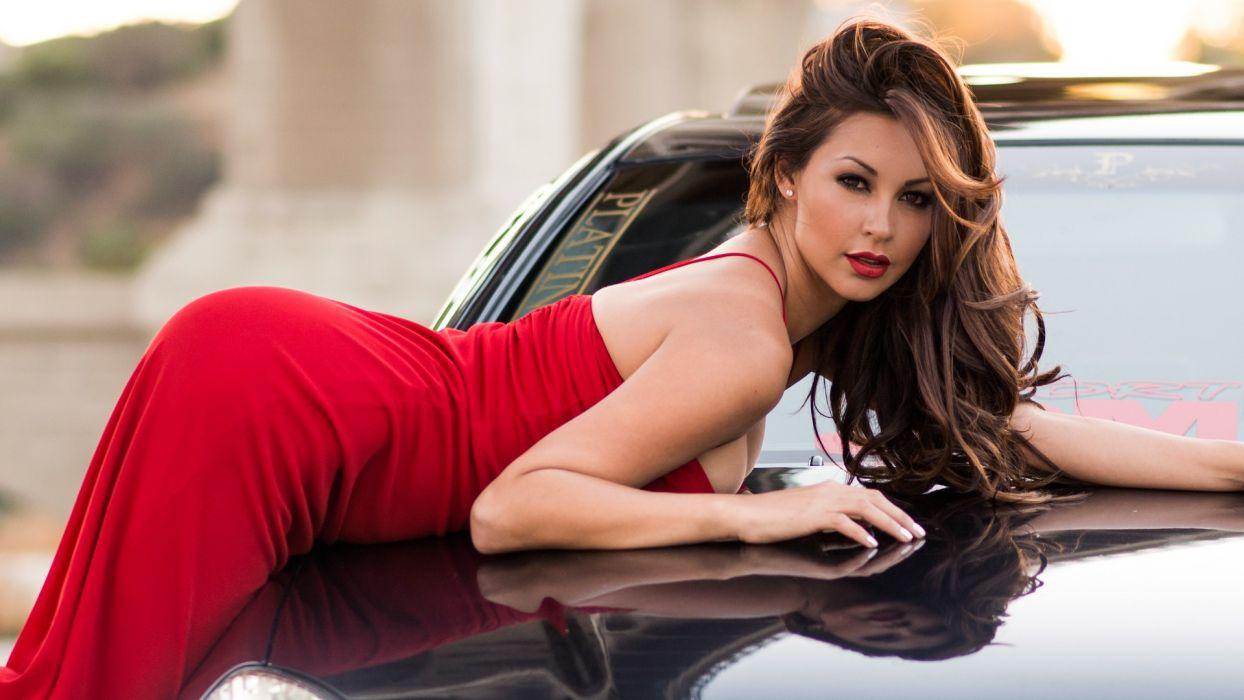 Melyssa Grace Dress Back Brunette model cleavage face eyes women females girls sexy babes       w wallpaper
