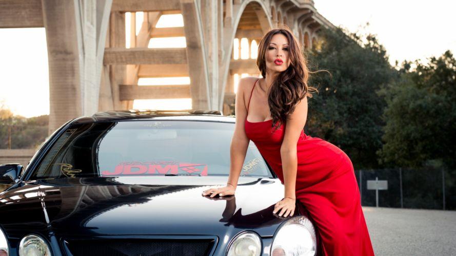 Melyssa Grace Dress Back Brunette model cleavage face eyes women females girls sexy babes lexus d wallpaper