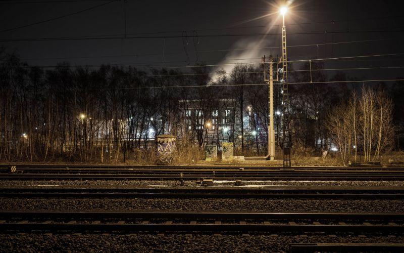 Railroad Rails Light Night tracks wallpaper