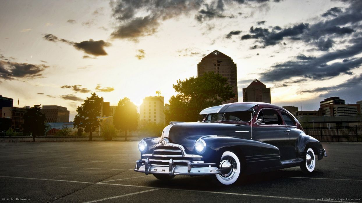 retro classic cars buildings cities sunset sky clouds wallpaper