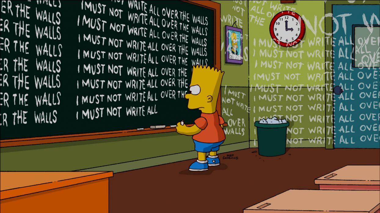 The Simpsons Bart Detention Write Chalkboard humor cartoons wallpaper
