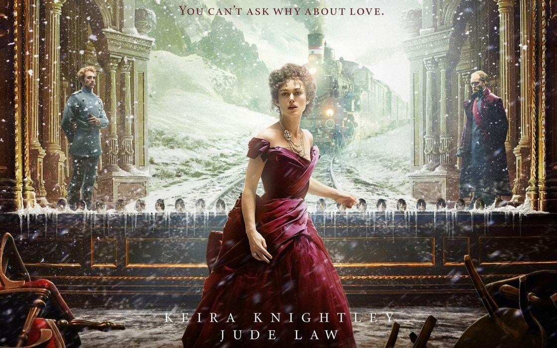 train Jude Law snow Keira Knightley film Anna Karenina women females girls babes wallpaper