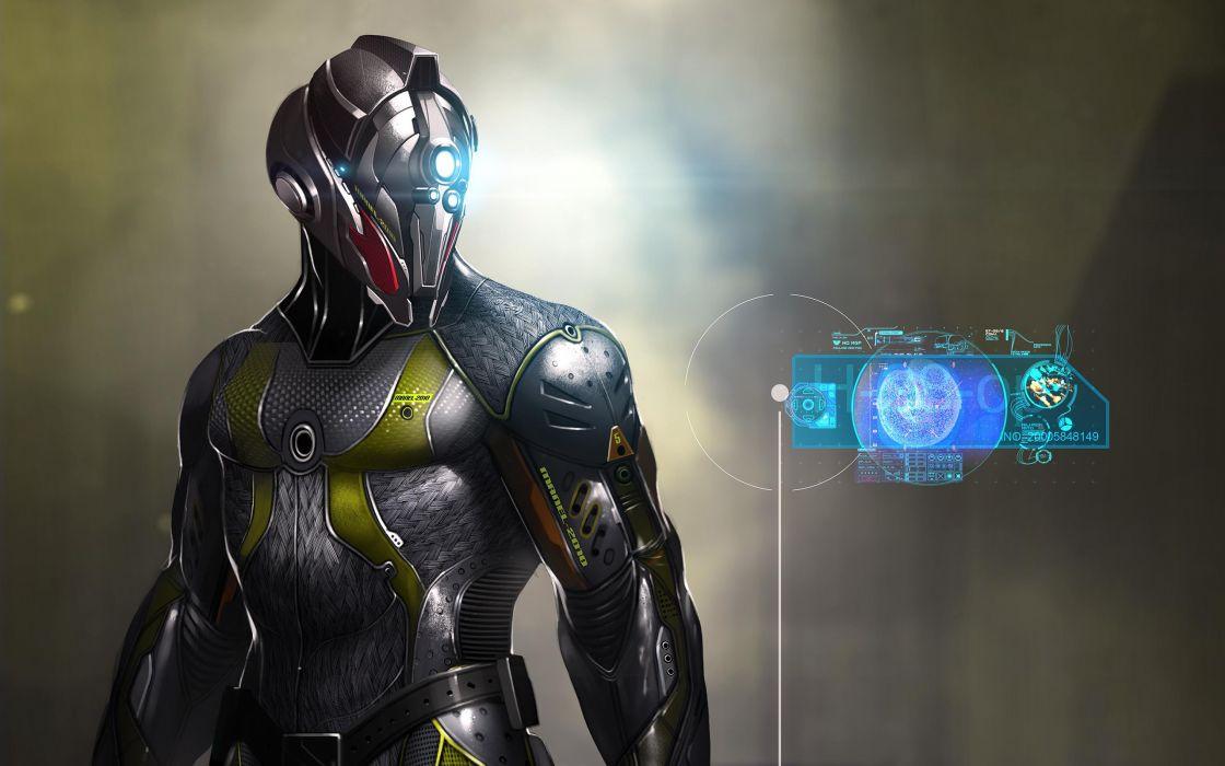 sci-fi futuristic robot cyborg display wallpaper
