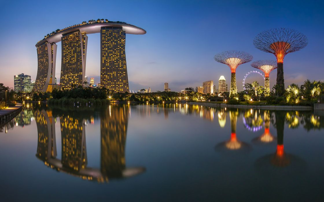 Singapore city buildings night sea reflection lights ferris wheel water harbor bay wallpaper