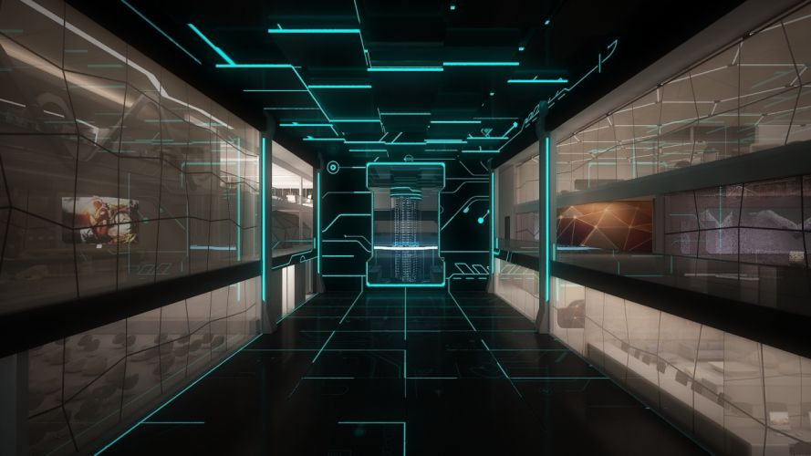 space monitors line Staley room technology sci-fi science computer futuristic wallpaper