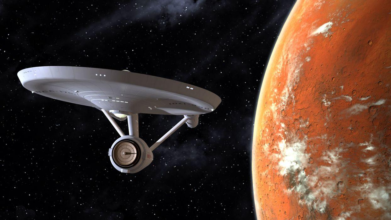 Star Trek Starship Enterprise Spaceship Planet Stars sci-fi spacecraft flight wallpaper