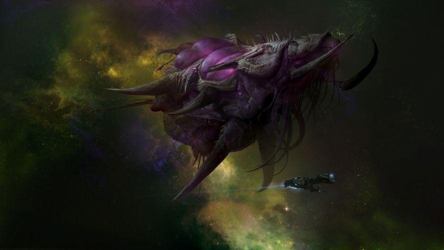 StarCraft Monster Spaceship sci-fi futuristic space spacecraft stars flight wallpaper