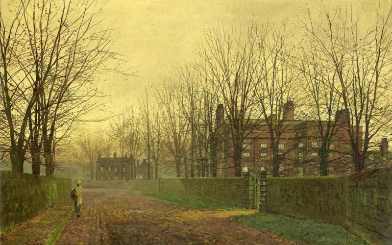 street painting John Atkinson Grimshaw alley autumn buildings houses girls women females roads fall fence architecture wallpaper