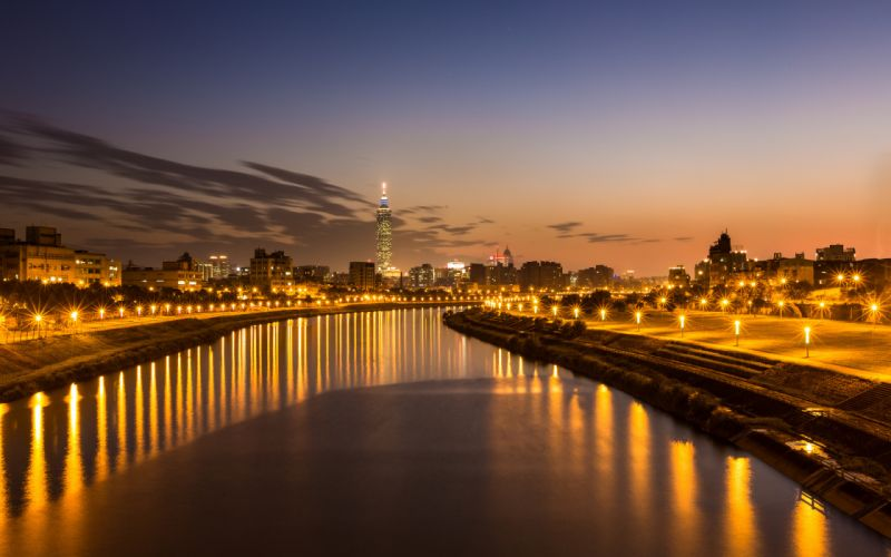 Taiwan Taipei river evening China cities buildings architecture reflection sky sunset sunrise night lights hdr wallpaper