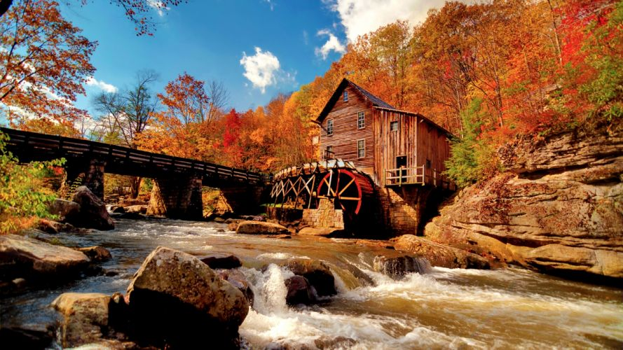 Autumn Water Mill wallpaper