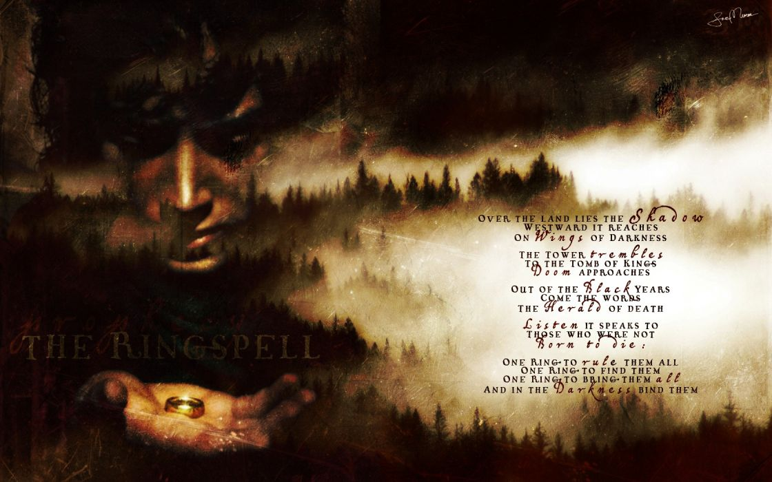 trees text grunge rings The Lord of the Rings artwork poetry Frodo Baggins wallpaper