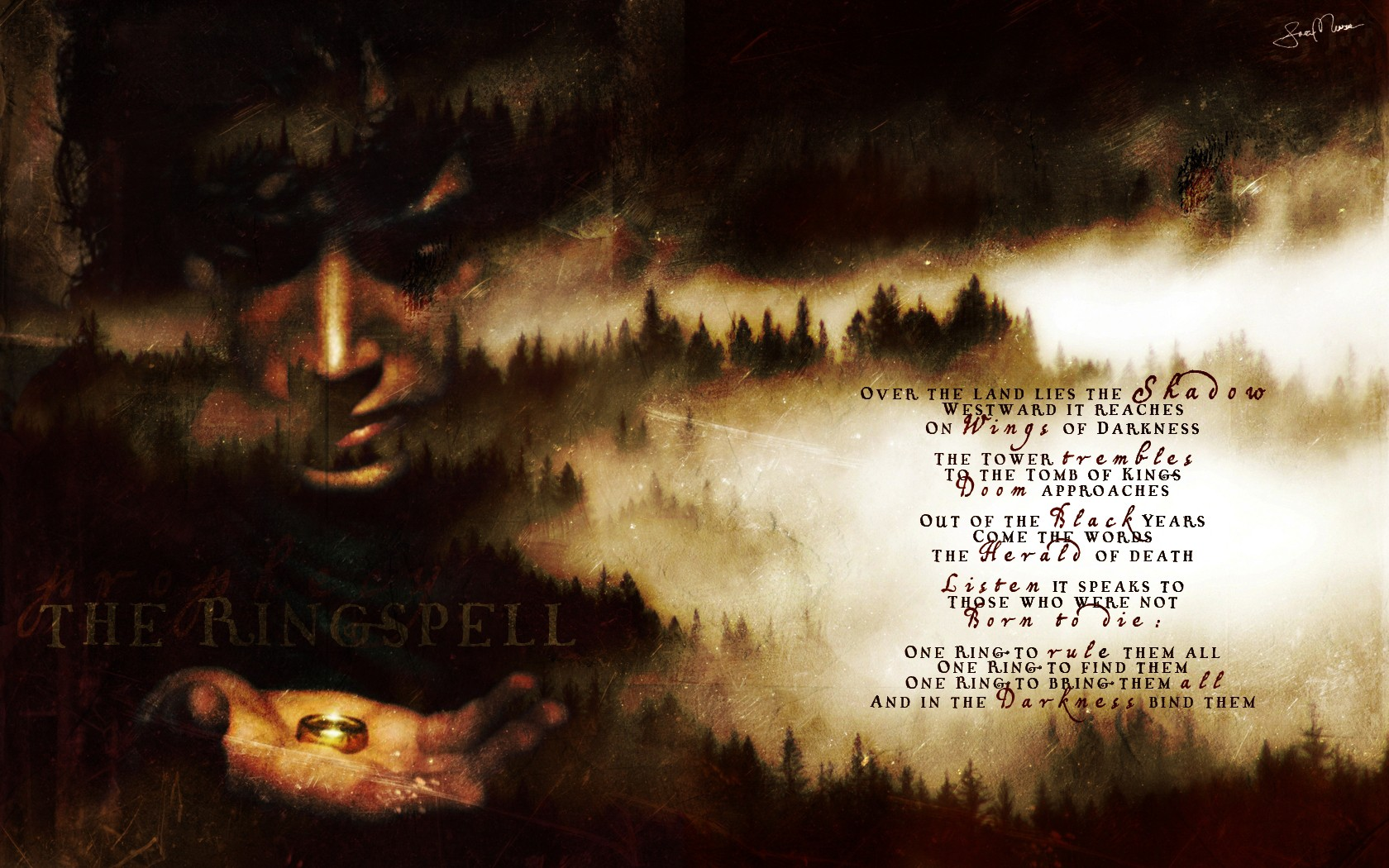 Trees Text Grunge Rings The Lord Of The Rings Artwork Poetry Frodo Baggins Wallpaper 1680x1050