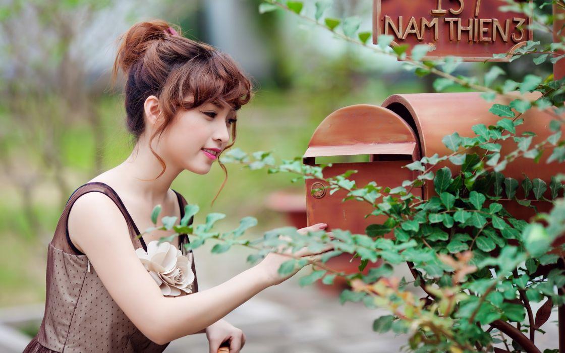 Viet Nam Asians depth of field Cure Girl oriental women females girls brunettes wallpaper