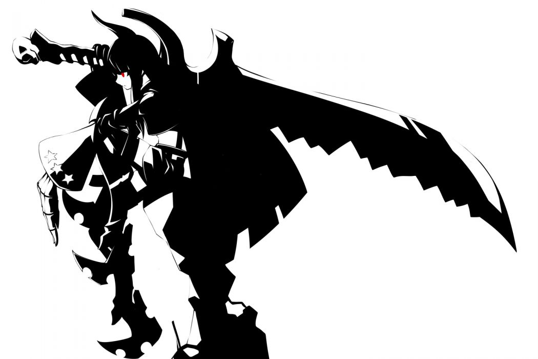 black gold saw black hair black rock shooter horns monochrome naginami red eyes shorts sword weapon wallpaper