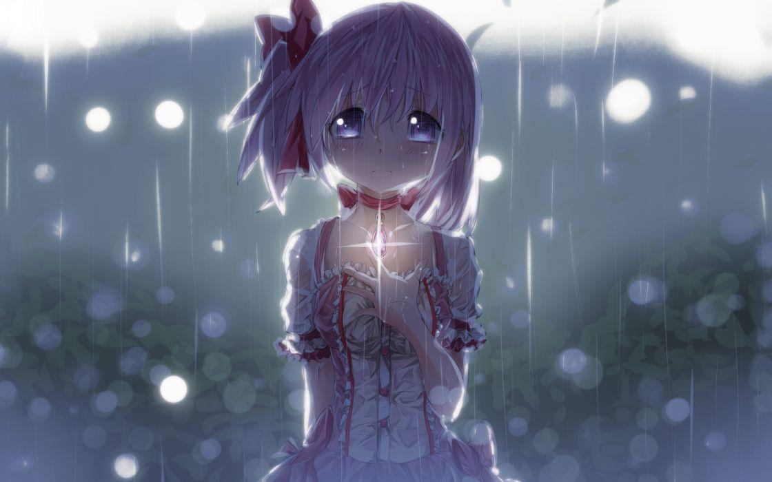 blush crying kaname madoka mahou shoujo madoka magica photoshop pink eyes pink hair rain ribbons seifuku tears rain drops mood   g wallpaper